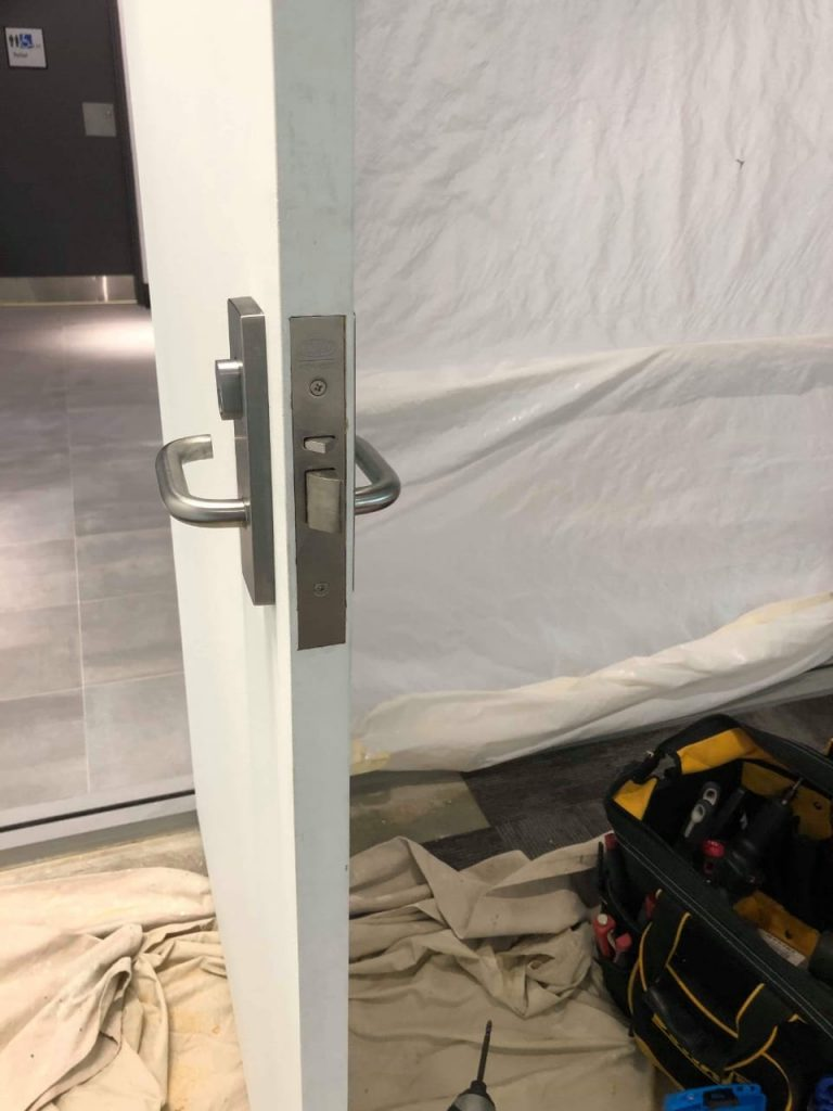 New mortice lock installation for a office door in Perth.