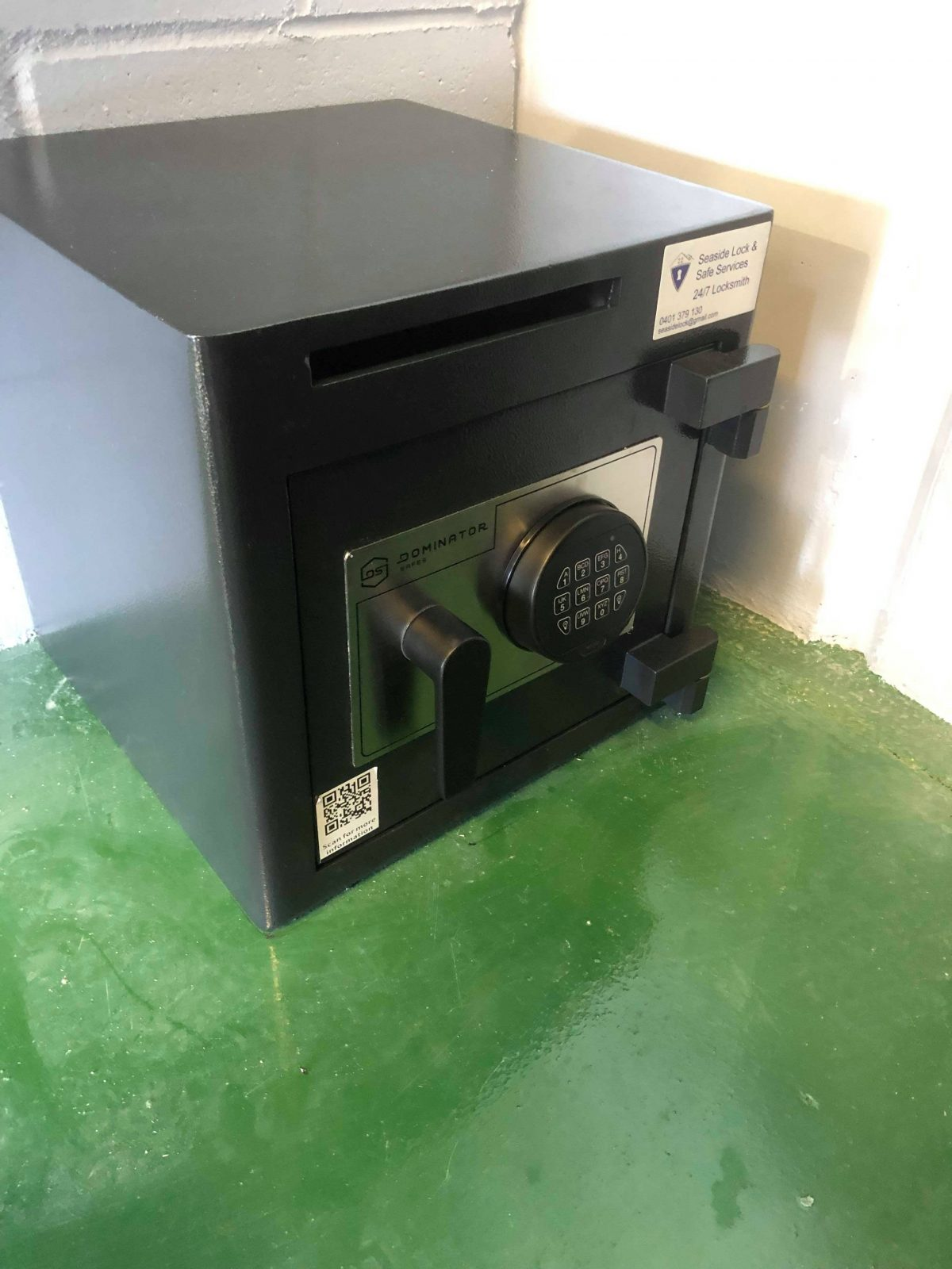 A new deposit safe installation for a new business.
